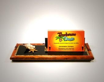 Business Card Holder - Black Lava and Seashells