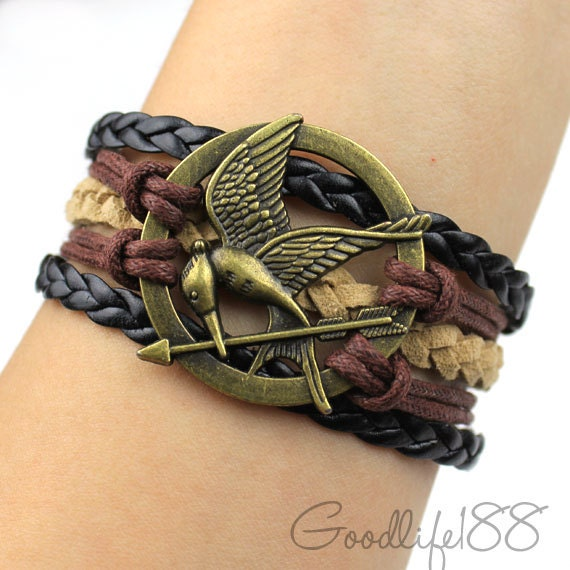 Antique bronze the Birds Bracelet,mockingjay bracelet,wax cords leather Bracelet, friendship gift