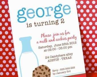 DIY PRINTABLE Invitation Card - Blue Milk & Cookies Birthday Party - PS812CA1a1