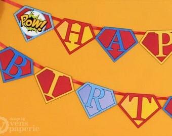 Superhero Birthday Party - DIY PRINTABLE Happy Birthday Banner - Instant Download - design by venspaperie - PS825CA1e