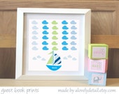 Baby Shower/New Baby  Sail boat Guestbook Print - 12 x 12 Print - Personalized Print - Nursery Print -(Includes Instruction card)