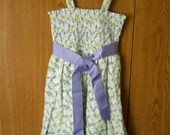 SALE Gir'ls Holiday  Dress Summer Beach Daisies Purple White Green Yellow  with Straps Ready To Ship