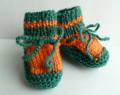 Baby Booties Handmade Knitted Soft  Pumpkin Orange Green Fall Summer  3-6 Months Ready to Ship