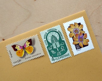 Butterfly Garden - Vintage unused postage stamps to post 5 letters - or use in scrapbooking and crafts