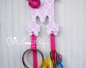 "9"" Custom Headband Bow Holder Headband Bow Organizer, Decoupage Letters, Children Initial Bow Holder Fabric Flower, baby shower gifts"