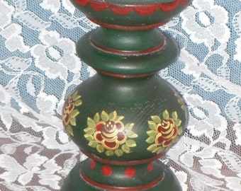 Turned Wood Pillar Candle Holder Stand Tole Painted Folk At Green Red Yellow