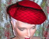 Vintage 1930's Red Pinched Brim Hat Bumper Style with Distinctive Trellis Veil Black Velvet Trim Merrimac Hat Corp Wool