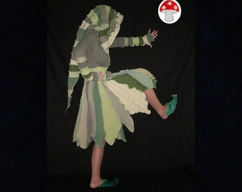 "Elf Coat DEPOSIT Special Order ""Forest Fairy"" Size Small Pixie Flower Petal Green Leaves Nature Fae Recycled Sweater Art Hooded Long Jacket"