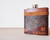 Apocalypse Leather Flask, Personalised Hip Flask, Zombie Customisation, rustic leather, distressed hip flask, wedding hip flasks
