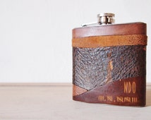 Apocalypse Leather Flask - Personalised Hip Flask, Zombie Customisation, rustic leather, distressed hip flask, wedding hip flasks