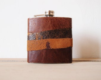 Distressed Leather Flask, Personalized Hip Flask, limited edition rustic leather, vintage look gifts