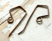 12 pr Diamond Artisan Handmade Earwires, 20g, Hand forged Antiqued Brass, or Solid Copper, square kite shape