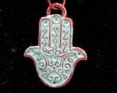 Turquoise Blue Enamel Hamsa Hand Necklace Textured Brass Chain