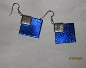 Dichroic Cobolt,Purple with Silver Earrings - Item 1-1537
