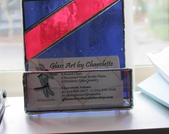 Bold Colored Stained Glass Business Card Holder - Item 16-1003