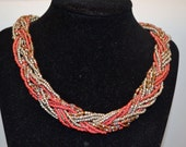 Silver/Grey and Pinkish Red Multi Strand Braided Seed Bead Necklace