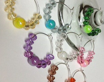 Beaded Wine Charm Set of 4 ID Tags Pink Yellow Blue Clear Purple Orange Brown Green