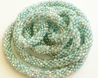 ONE Crocheted Beaded Necklace/Bracelet  -  Mint Green