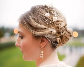 Wedding floral crown, Bridal hair accessories, Wedding crown, Bridal crown, Gold crown, Hair jewelry, Flower crown, Floral crown, Headpiece.