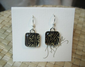 Item 25-japanese washi paper with glass tile earrings by heavenlycranejewelry