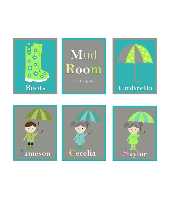 Mud Room Wall Decor : Items similar to mud room signs personalized prints
