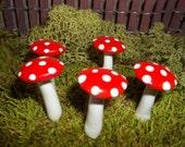 FREE Shipping 5 miniature fairy garden mushrooms terrarium toadstool woodland red container garden decor