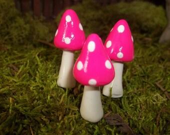 set of 3  fairy garden mushrooms miniature terrarium toadstool pixie or gnome woodland accessories