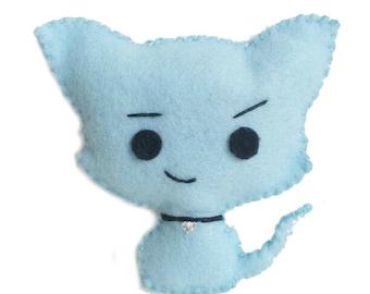 Kitten Stuffed Toy Plushie, Cat plush, Kawaii Baby Blue Kitty, Kawaii plush
