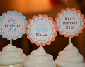 Vintage Car theme cupcake toppers-set of 12
