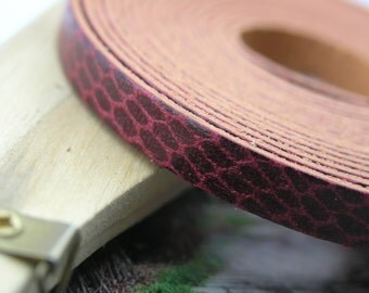 3 Meters 8.0xs1.0mm Snake Skin(WineTone)Flat Real Leather Cord