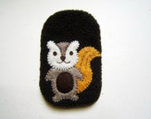 Cute Squirrel Phone  Fabric Case, Phone Cover, Phone Pouch, Cell Phone Pocket, iPhone 5 Case, Brown