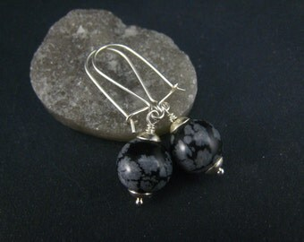 snow obsidian earrings,sterling silver