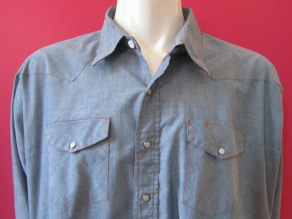 Mens 4XL cowboy shirt, Big Mac, vintage, chambray denim, white snaps (376)