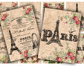 Digital Collage Sheet Download - Paris Tags -  404  - Digital Paper - Instant Download Printables