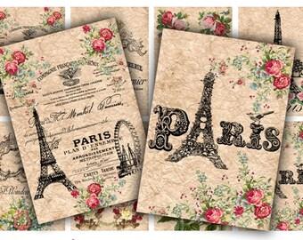 Digital Collage Sheet Download - Paris Tags -  404  - Digital Paper - Instant Download Printables