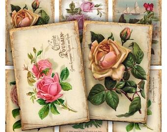 Digital Images - Digital Collage Sheet Download - Vintage Roses Tags -  314  - Digital Paper - Instant Download Printables