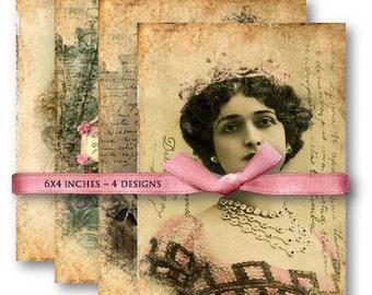 Digital Images - Old Photos Papers - Digital Collage Sheet Download 652 - Instant Download Printables