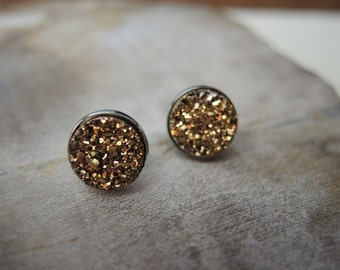 Gold Druzy Studs, Druzy Earrings, Sterling Silver Bezel Studs 10mm, Druzy Stone Earrings, Druzy Stud Earrings, Druzy Jewelry Gifts For Her
