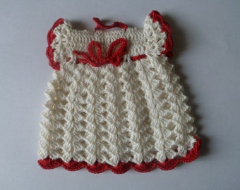Vintage Red and White Cute Dress Pot Holder