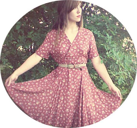 vintage carmine short sleeve sheer floral, full skirt, mini dress. size medium, side zip up.