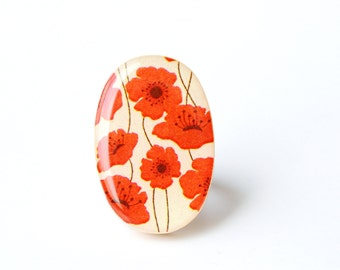 Red poppy statement Ring, cocktail ring,  bridesmaid gift, Starlight Woods, wood ring, floral jewelry, eco friendly