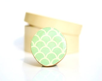 Mint Cocktail Ring Mint green scallop pattern Adjustable ring Summer jewelry eco friendly statement ring. Starlight Woods