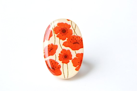 Red poppies Cocktail Ring Spring jewelry wood jewelry bridesmaid gift Starlight Woods wood ring modern jewelry eco friendly