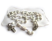 "UNISEX Rosary Style Necklace handmade of ""cat eye"" glass and ceramic white  beads ending with metal cross"