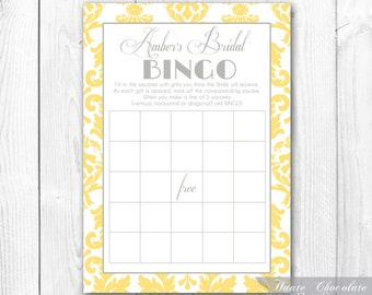 Bridal Shower Bingo Game. Print-it-Yourself Yellow & Gray Damask Bridal Shower or Baby Shower Bingo
