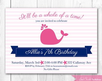 Preppy Whale Birthday Invitation - Pink Whale Birthday. Printable Nautical Birthday Invite in Pink and Navy or Pink and Green.