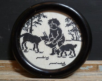 Country Chic tapestry Black and White French Vintage Embroidery Shepherd and Flock.