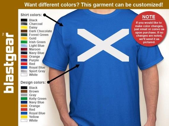 Flag of Scotland T-shirt — Any color/Any size - Adult S, M, L, XL, 2XL, 3XL, 4XL, 5XL  Youth S, M, L, XL