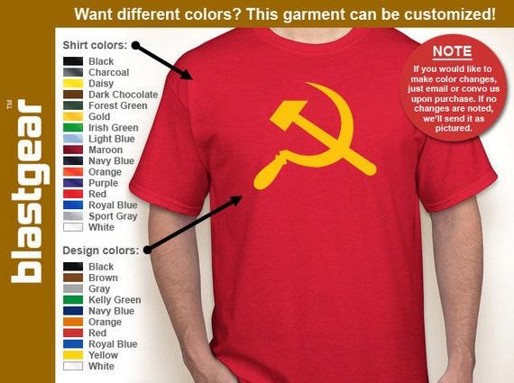 Hammer & Sickle Soviet Union T-shirt — Any color/Any size - Adult S, M, L, XL, 2XL, 3XL, 4XL, 5XL  Youth S, M, L, XL