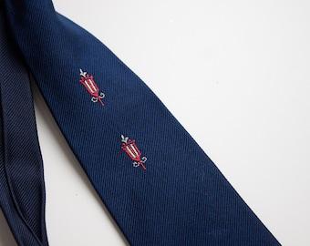 1940s DESIGNER Silk Tie -  Sawyer - London Tie., Novelty Menswear., Retro Men. // Street Light - Navy Blue